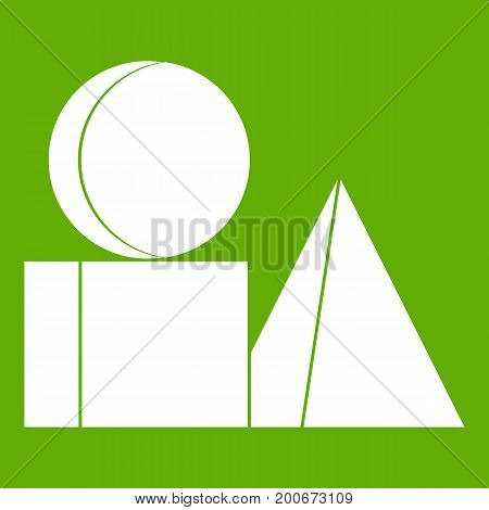 Box of bricks icon white isolated on green background. Vector illustration