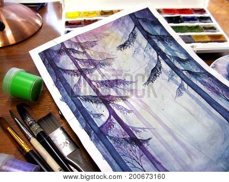 Watercolor creative art drawing magic forest wood nature gouache paint pot brush paintbrush photo