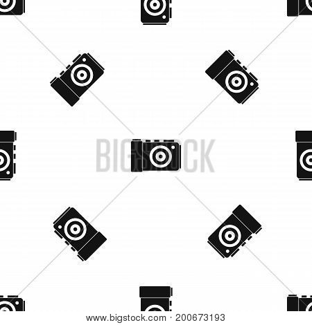 Photo camera pattern repeat seamless in black color for any design. Vector geometric illustration