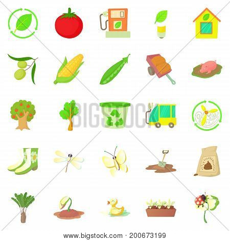 Fruit growing icons set. Cartoon set of 25 fruit growing vector icons for web isolated on white background