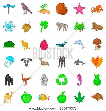 Biosphere icons set. Cartoon style of 36 biosphere vector icons for web isolated on white background