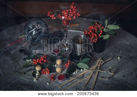 Painting. Still life with notes, flowers, fruit, rowan on wood background. It can be used to create packages, gift cards and design