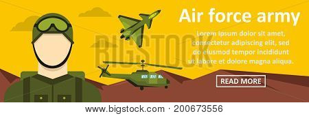 Air force army banner horizontal concept. Flat illustration of air force army banner horizontal vector concept for web