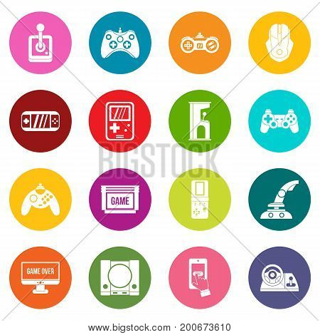 Video game icons many colors set isolated on white for digital marketing