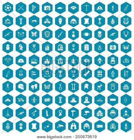 100 museum icons set in sapphirine hexagon isolated vector illustration