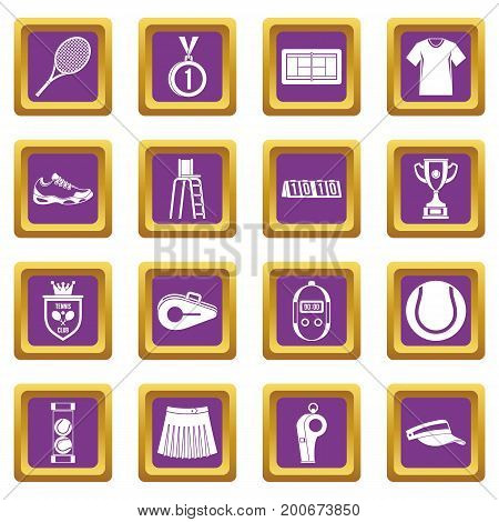 Tennis icons set in purple color isolated vector illustration for web and any design