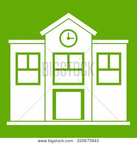 School icon white isolated on green background. Vector illustration