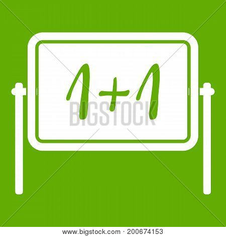 Board icon white isolated on green background. Vector illustration