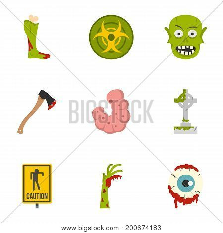 Zombie grave icon set. Flat set of 9 zombie grave vector icons for web isolated on white background