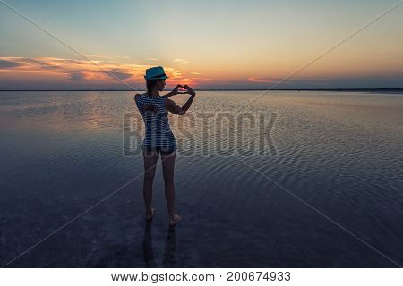 Beauty sunset on salty lake in Altay, Siberia, Russia poster