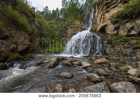Kamishlinsky waterfall in Altai, 12 meters, in Altai, Siberia Russia
