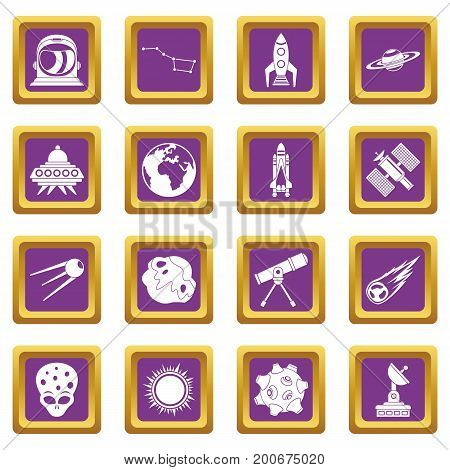 Space icons set in purple color isolated vector illustration for web and any design