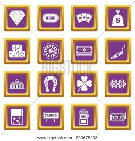 Casino icons set in purple color isolated vector illustration for web and any design