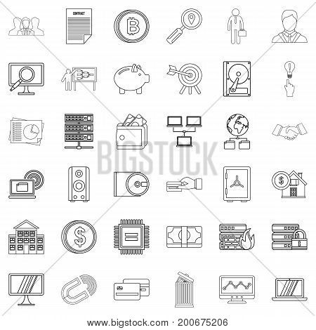 Business icons set. Outline style of 36 business vector icons for web isolated on white background