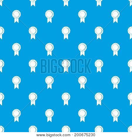Rosette with ribbon pattern repeat seamless in blue color for any design. Vector geometric illustration