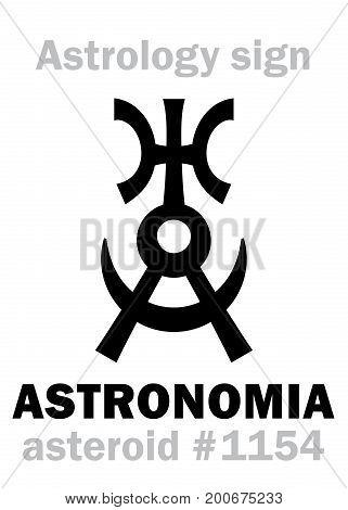Astrology Alphabet: ASTRONOMIA (Uranography), asteroid #1154. Hieroglyphics character sign (original single symbol).