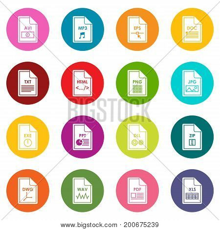 File format icons many colors set isolated on white for digital marketing