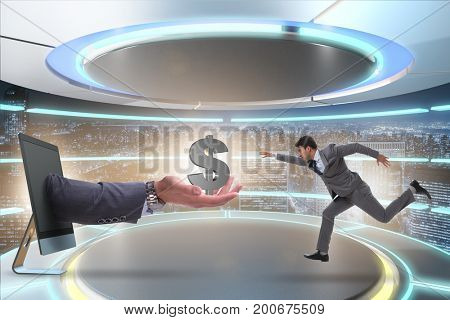 Businessman receiving investment in his startup business