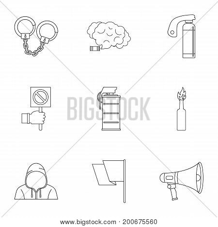 Freedom demonstration icon set. Outline set of 9 freedom demonstration vector icons for web isolated on white background