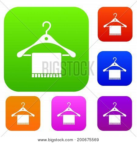 Scarf on coat hanger set icon in different colors isolated vector illustration. Premium collection