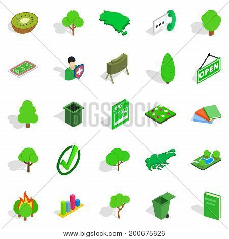 Green fruit icons set. Isometric set of 25 green fruit vector icons for web isolated on white background