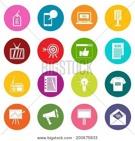 Advertisement icons many colors set isolated on white for digital marketing