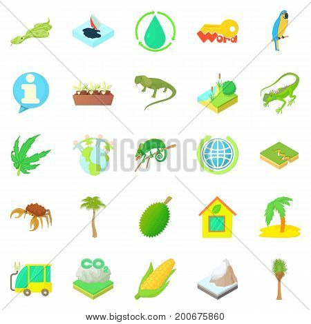 Nature icons set. Cartoon set of 25 nature vector icons for web isolated on white background