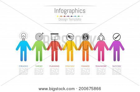 Infographic design elements for your business data with 7 options parts steps timelines or processes connecting people concept. Vector Illustration.