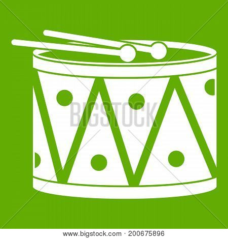 Drum and drumsticks icon white isolated on green background. Vector illustration