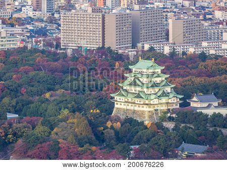 Aerial view of Nagoya Castle with Nagiya downtown skyline
