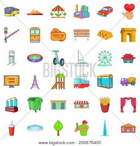Capital icons set. Cartoon style of 36 capital vector icons for web isolated on white background