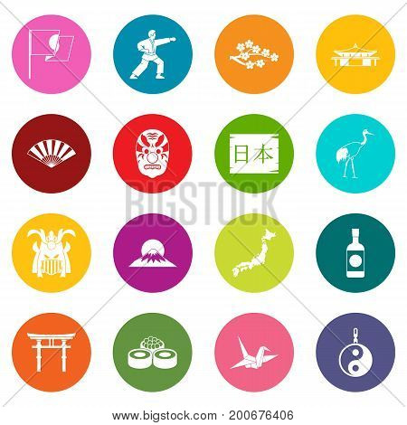 Japan icons many colors set isolated on white for digital marketing