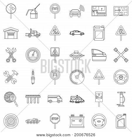 Drive icons set. Outline style of 36 drive vector icons for web isolated on white background