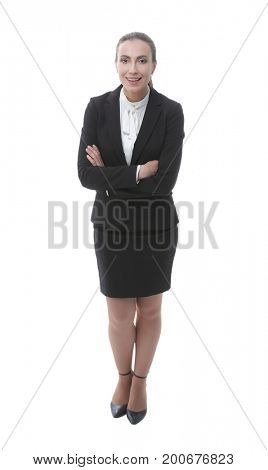 smiling female Manager.portrait in full growth