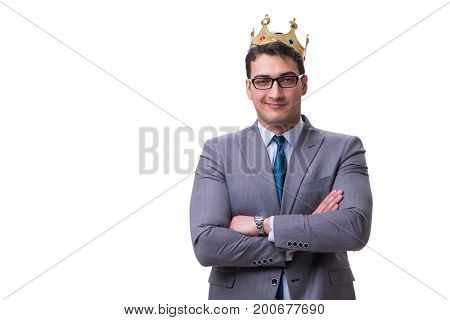 King businessman isolated on white background