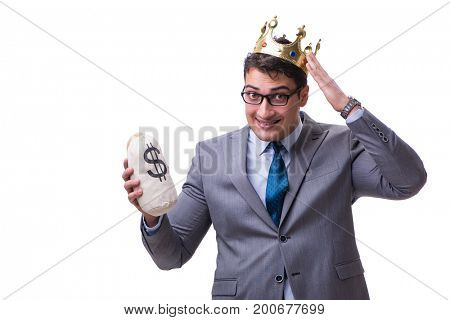 King businessman holding money bag isolated on white background