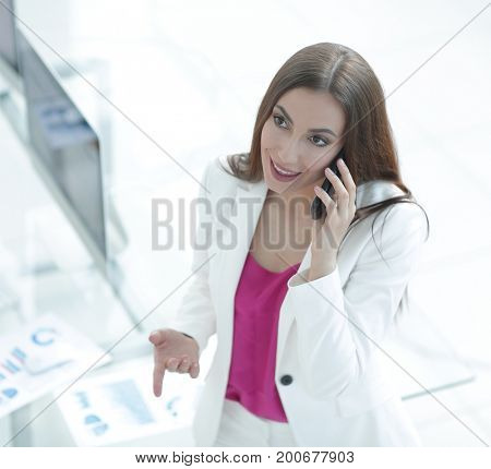 female Manager talking on the phone