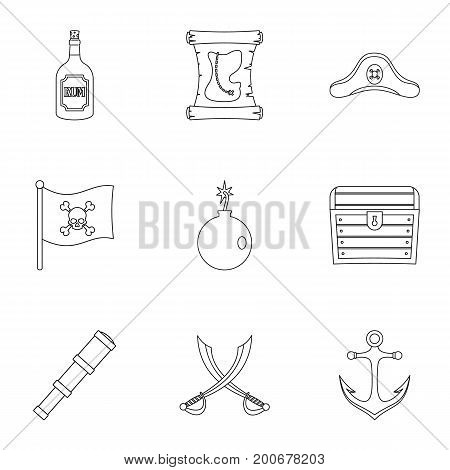 Pirates element icon set. Outline set of 9 pirates element vector icons for web isolated on white background