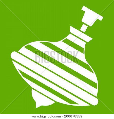 Carousel humming top icon white isolated on green background. Vector illustration