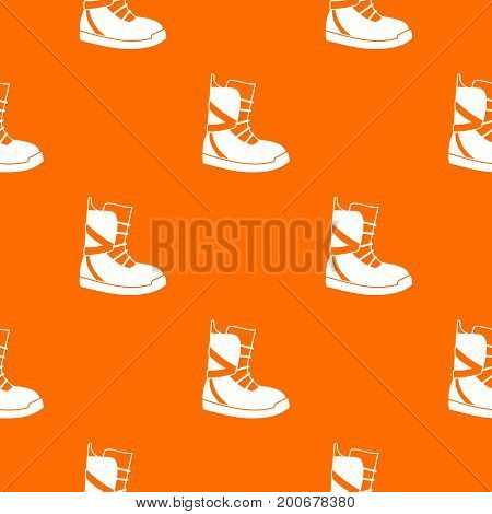 Boot for snowboarding pattern repeat seamless in orange color for any design. Vector geometric illustration