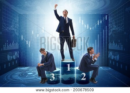 Businessman after successful transaction in business