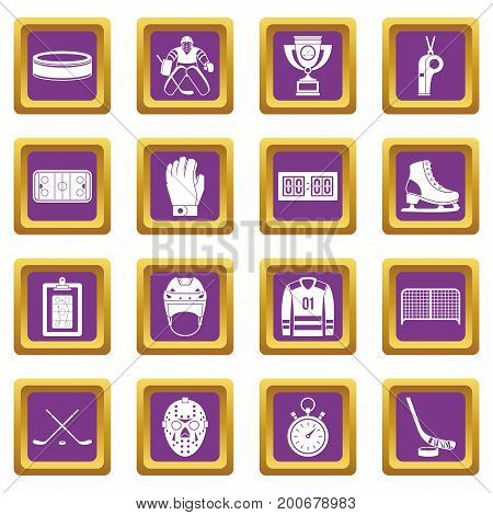Hockey icons set in purple color isolated vector illustration for web and any design