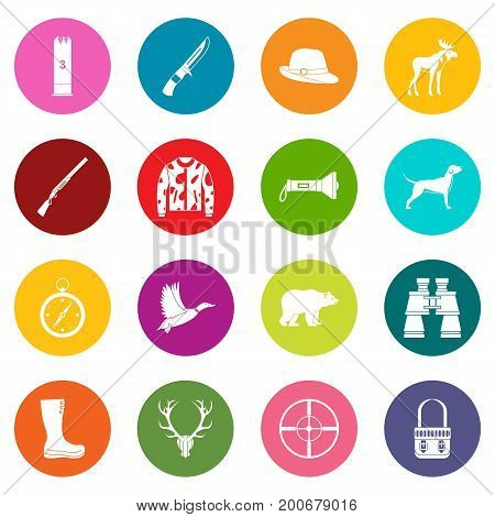 Hunting icons many colors set isolated on white for digital marketing