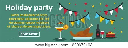 Holiday party banner horizontal concept. Flat illustration of holiday party banner horizontal vector concept for web
