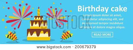 Birthday cake banner horizontal concept. Flat illustration of birthday cake banner horizontal vector concept for web