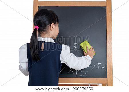 Asian Chinese Little Girl Wiping The Blackboard
