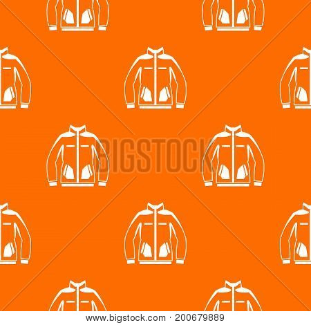 Men winter jacket pattern repeat seamless in orange color for any design. Vector geometric illustration