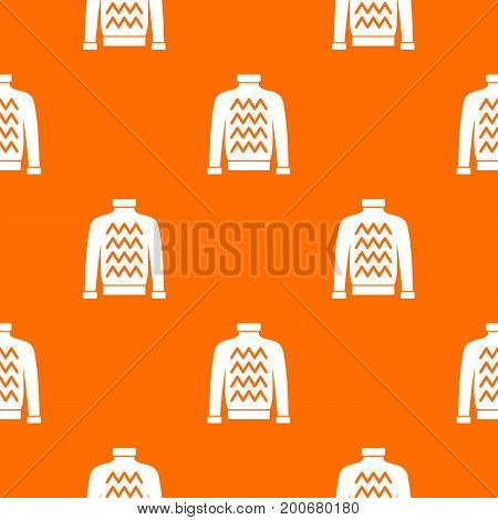 Men sweater pattern repeat seamless in orange color for any design. Vector geometric illustration