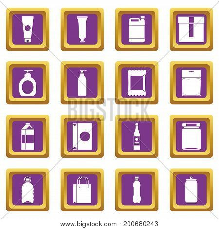 Packaging items icons set in purple color isolated vector illustration for web and any design
