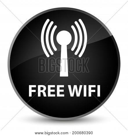Free Wifi (wlan Network) Elegant Black Round Button